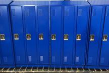 Madison School (Skokie Sd 69) - Skokie, IL #DeBourgh #Lockers / #Rebel #RoyalBlue #SentryThreeLatch #LouveredVentilation #PianoHinge #SlopeTop #ClosedBase #DeBourgh #Lockers