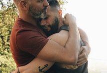 Gay Love - Mature / Older mature gay men in love hugging, kissing or just being together.
