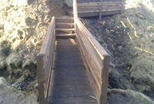 The New Steps/Bridge/Fort leading down to the beach. / The New Steps/Bridge/Fort leading down to the beach.