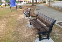 WPC flower boxes, benches article / Outdoor WPC furniture in our public area
