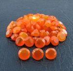 10mm Round Natural Carnelian Faceted Cut Orange Color Loose Gemstone