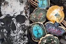 Mixed Media Art Cookies / Cookies using edible stamps, royal icing stenciling/ decorations, fondant, chocolate, sugar sheet, watercolor, etc