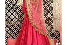 Suit Anarkali Plain pink