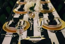 Black White And Gold Bday Party Decor Long Tables