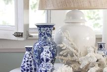Blue and White / Blue and white porcelain is popular throughout the world. This board shows how to style your collection and many interiors that have been inspired by the colour scheme.