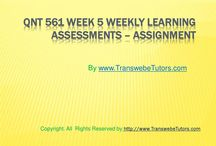 QNT 561 Week 5 WEEKLY LEARNING ASSESSMENTS - ASSIGNMENT