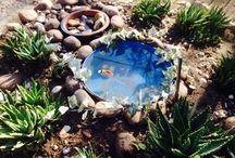 Jardin fuente / Fuente hecha de un tambor cortado a unos 40 cn