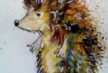akvarel zvířata