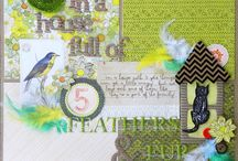 COLOR: GREEN ON SCRAPBOOK PAGES