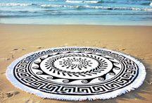 Greek Sun / Round beach towels | Serviette ronde | Toalla ronda | Runde strandlake | Rundes handtuche | Plaj havlusu | Ręcznik plażowy