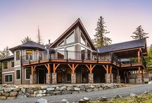 "Alair Homes | Nanaimo | Creekside Custom Home / This custom home has a great rustic in-the-woods feel, with spectacular timber frame beams.The end result is a true ""cabin in the woods"" experience."