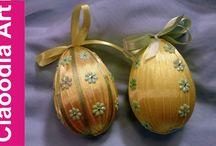 jaja styropianowe ze wstążki, karczochy
