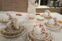 vintage tea set and vintage cake stands