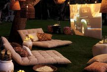 Backyard movie night / A fun way to watch movies in the summer with the kids.