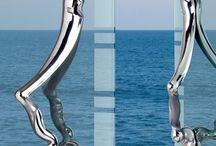 Sleek stainless steel door handles / the beauty of shiny and sleek stainless steel door handles