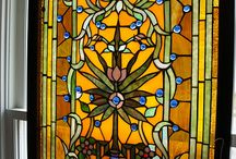 European Stained Glass & Old Bottles