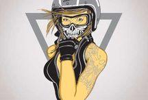 Biker Babe Illustration / the beauty of bikers on vector art