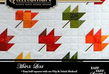 "Quiltsmart Maple Leaf / Using Quiltsmart's BearLeaf interfacing, you will glide through making Maple Leaf blocks! Just place and fuse 2.5"" squares on the marked sections of interfacing, stitch on the lines, and press open. When you sew the seams on the solid lines printed on the interfacing, you will get beautiful points, without ever fussing with triangles! It's all squares! Easy, fast, and smart! #sewing #quilting #quilt #quilted #diy #handmade #craft #ideas #howto #mapleleaf #quiltsmart"