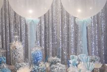 Blue + Platinum Candy Bar / Silver Sequin backdrop, Geronimo Balloons, blue candy scoops, custom cake wraps with gourmet candy options were just some of the many featured details of this gorgeous Blue + Platinum Candy Bar. Perfect little details for the newly weds, and many a raving review from the guests!