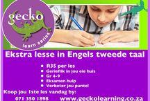 Improve your English marks gr 4-9 / Die Junie eksamen is om die draai!  Help jou kind om Engels te leer met Gecko learn series se opsommings en oefeninge vir slegs R35. Moenie wag nie! Besoek www.geckolearning.co.za