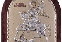 Saint dimitrios silver Greek Byzantine icon