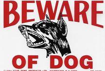 Vintage Pet Security signs