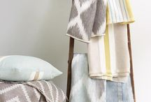 Izora Collection by Romo / A new collection of multi-coloured linen stripes and geometrics, stays on the cool side of sweet, with diffused ikat effects and colourful combinations of ice-cream shades, calm neutrals and flashes of vivid, contemporary tones, all with a soft fluid handle.