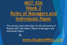 MGT 426 / This article covers the topic for the University of Phoenix MGT 426 Week 2 Roles of Managers and Individuals Paper.