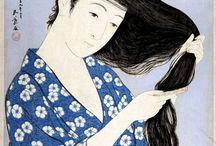 Woman combing hair