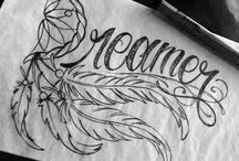 teksten en creatieve tekeningen