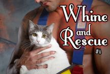 Books: Whine and Rescue / The brother of her sister's fiancé is hotter than a Texas summer and back in Dallas making Layla Pickett want things she can't have. Him. It doesn't stop her from fantasizing though, especially since he often frequents her coffee shop—Coffee Cats—a place she opened for the firefighters to destress with kittens and cats while grabbing a quick coffee and a bite to eat. Although, whenever he's near a very different destresser comes to mind.