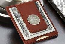 Monogrammed Brown Genuine Leather Wallet and Money Clip