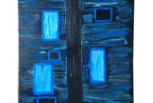 Modern Art - Black & Blue / Moderne kunst Acylverfschilderijen made by LindieZ Art www.LindieZart.com