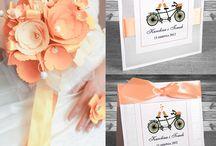 Zaproszenia ślubne łososiowe / Ślub w kolorystyce łososiowej. Zaproszenia i dodatki ślubne.