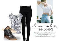 white tee style