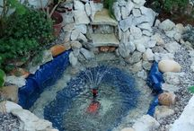Beautiful pond with waterfall