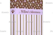 Brown and Purple Brown Puppy Dog Birthday / This collection features a cute brown puppy or dog. The background consists of purple and brown paw prints and a brown and purple stripe ribbon.