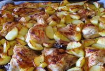 Pečené kuře s majorankovymi brambory