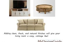 Cottage Living Room / Design tip:  create your cottage living room design by using a mix of wood finishes.  Here we create cottage with a white wood TV stand and a walnut finish round coffee table.
