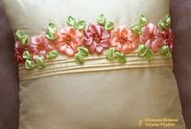 ribbon aplique, embroidery, flowers