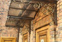 козырьки над входом наши работы / кованый козырек над входом