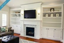 bookcase fireplace tv