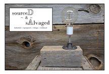 Lighting / Vintage | Industrial lighting mounted on reclaimed wood.