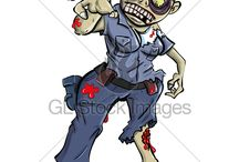 Cartoon policeman by Anton Brand / Cartoon illustrations of policemen available on royalty free websites