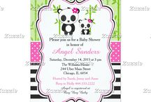 Pink Panda Baby Shower / This collection features a cute panda mother and baby. Perfect for Baby Shower! The background consists of bamboo shoots, a bright pink polka dot ribbon and black stripes.