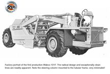 Wabco's 101F scraper / The Wabco 101F made its first appearance in 1970.   An entirely new design, the 101F bore no family resemblance to any other scraper in the Wabco range and was entirely hydraulically controlled.  Instead of replacing the company's existing 11 cubic yard model 111A elevating scraper, the slightly smaller nine cubic yard 101F complemented it.