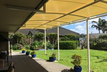 Outdoor Rooms / Our outdoor rooms are constructed using Triax, a waterproof shade structure. It is a light weight system that is constructed on site, without welding. Triax is a customised design that can be wall mounted, roof mounted or free standing on posts.