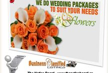 Florist and Flowers / Florist advertising on The Notice Board and images of flower arrangements