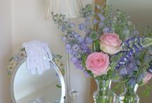 Shabby chic table flowers  / Shabby chic rustic country style flowers in a vintage vase by Manchester wedding flowers www.blushrose.co.uk