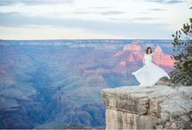 Grand Canyon Wedding Photos / These Grand Canyon wedding photos were at the South Rim including bridal portraits at sunset.